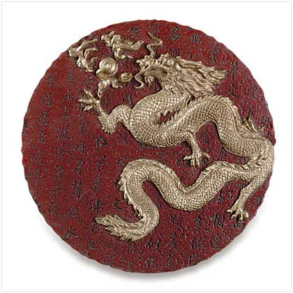 Gold Dragon Round Plaque